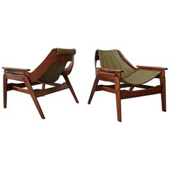 Pair of Midcentury Leather and Walnut Sling Chairs by Jerry Johnson