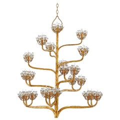Branching Floral Designed Chandelier in Aged Gold Leaf Finish