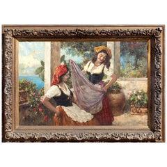 Large Italian Oil on Canvas by Luigi Amato