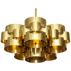 C. Jere Cloud Chandelier, Brass, Signed