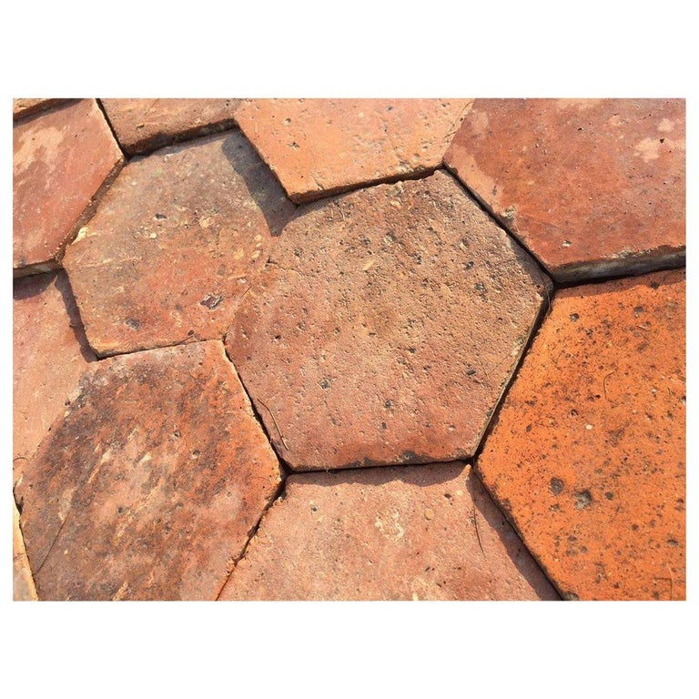French Antique Terracotta Flooring, Original, 18th Century, France For Sale