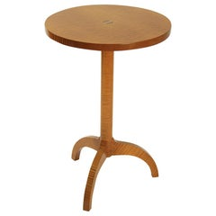 Tripod Contemporary Side Table in Gilt Stain on Maple Wood with Brass Wedge