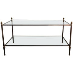 Solid Brass and Glass Two-Tier Coffee Table