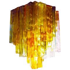 Barovier & Toso Chandelier Venini Four-Color Glass Flush Mount Ceiling Light