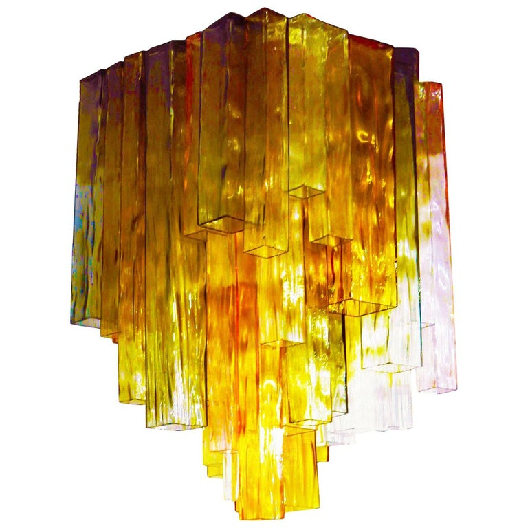 Barovier & Toso Chandelier Venini Four-Color Glass Flush Mount Ceiling Light For Sale