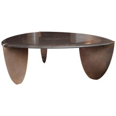 ETHER ATELIER Carved Edge Stone & Bronze Coffee Table, Customizeable