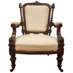 Victorian Wide Seated Rosewood Armchair