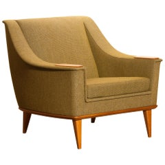 Green Upholstered Oak Lounge / Easy Chair by Folke Ohlsson for DUX, 1960, Sweden