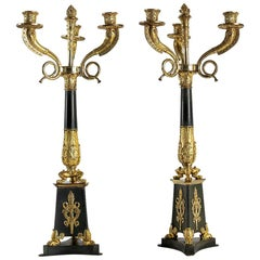 Large Pair of French Empire or Restauration Period Candelabra, circa 1815-1830