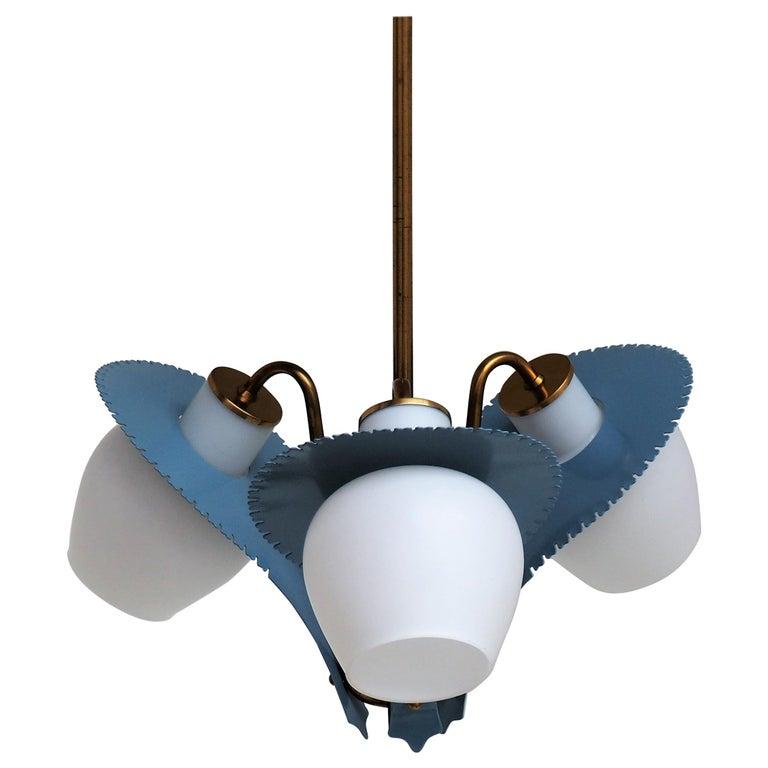Stilnovo Chandelier by Bent Karlby for Lyfa, Danish Design from the 1950s For Sale