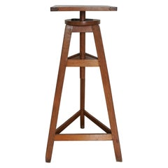 French Midcentury Oak Sculptor's Stand, Pedestal, Sellette, Table, 1950s
