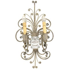 Single Maison Baguès French Crystal Silvered Flower Wall Sconces