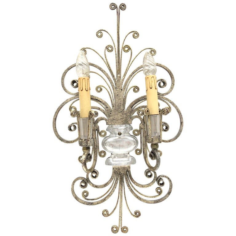 Single Maison Baguès French Crystal Silvered Flower Wall Sconces For Sale