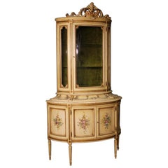 20th Century Lacquered and Painted Wood Italian Louis XVI Style Showcase, 1960