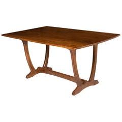 "Oak Refectory Table by Edward Barnsley on a ""Wishbone"" Base, England circa 1940"