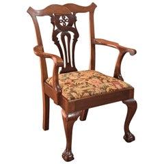 Antique Armchair, Victorian Chippendale Revival, circa 1880