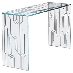 Console Rectangular Table Glass Crystal Italian Contemporary Design