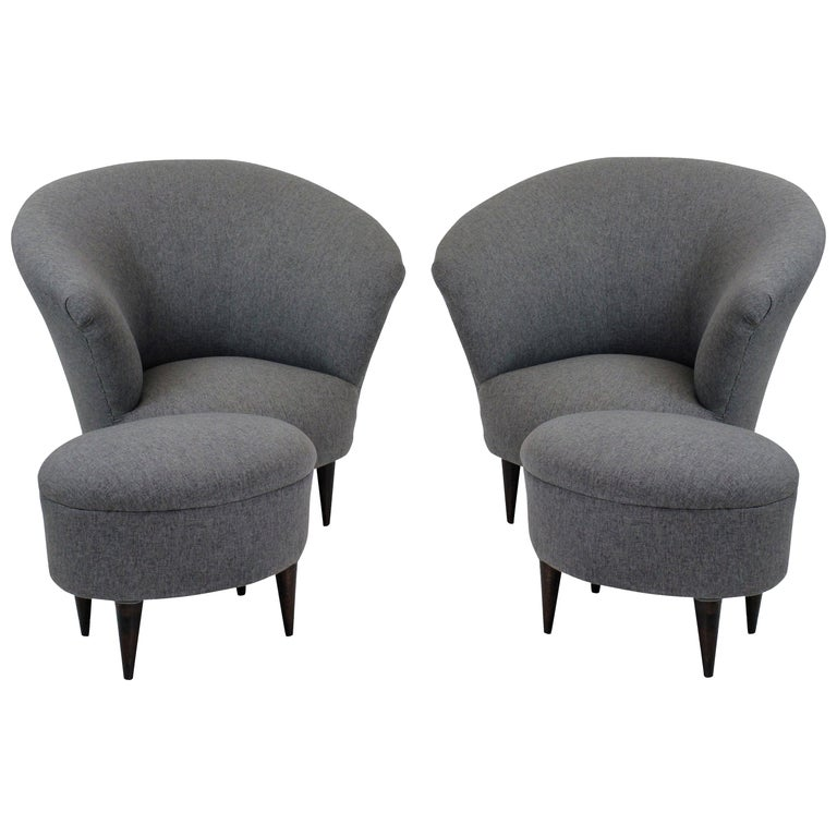 Pair of Parisi Armchairs and Matching Foot Stools For Sale