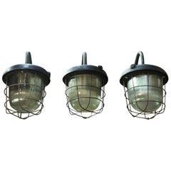 Industrial Lanterns Iron and Glass Street Wall Lights Sconces, 1920s