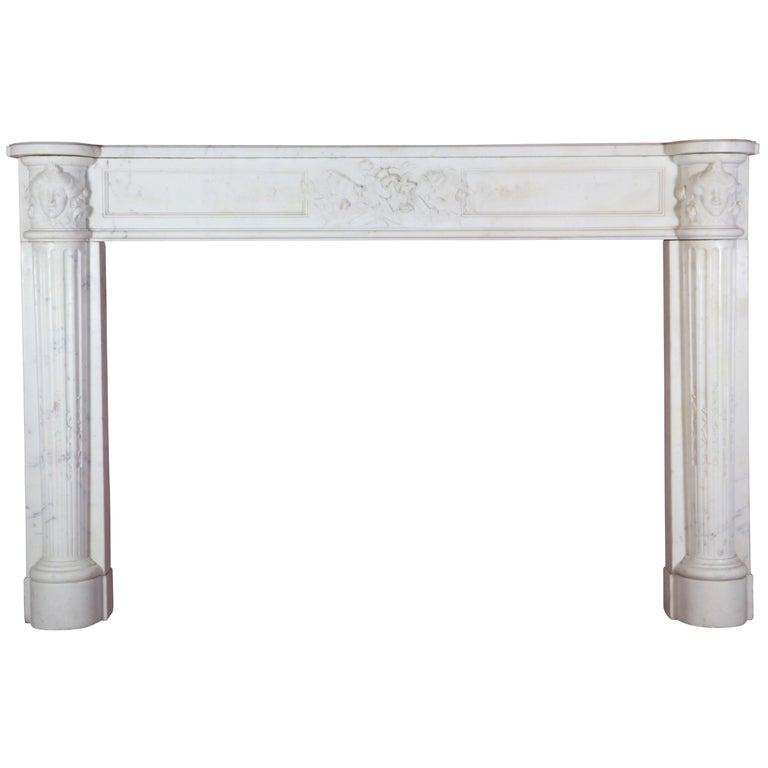 Fine French White 18th Century Carrara Marble Antique Fireplace Surround For Sale