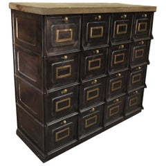 Strafor Iron and Brass Clapet Compartment Cabinet circa 1920 with Solid Oak Top