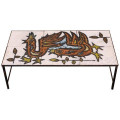 1960s French Ceramic Tiles and Steel Coffee Table