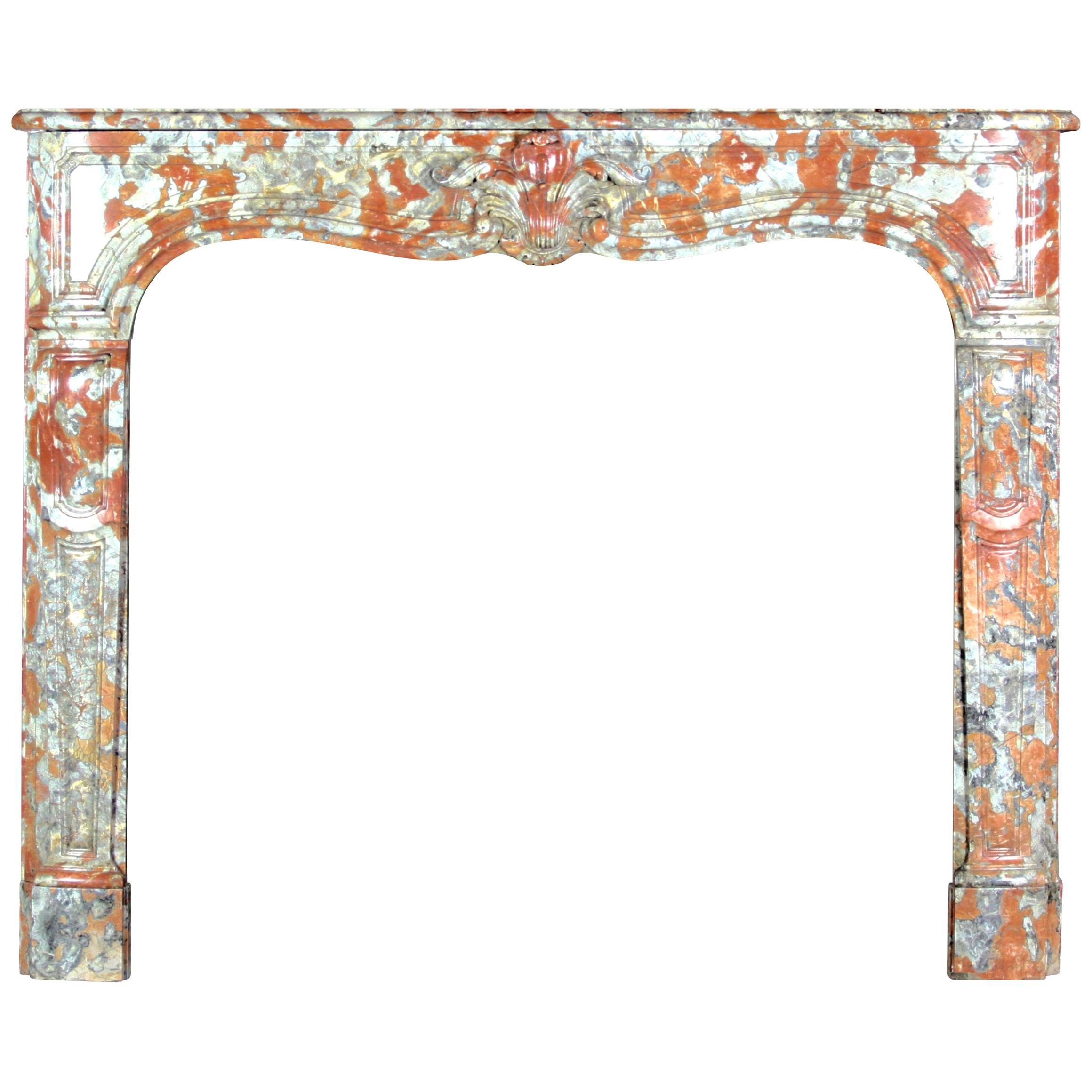 18th Century Fine Parisian Regency Antique Fireplace Surround in Marble