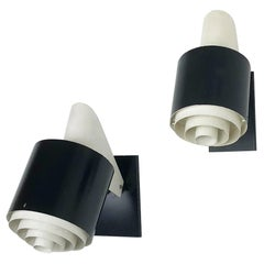 "Set of 2 Metal Sconces Wall Light ""Black & White"" Series, Novalux France, 1960s"