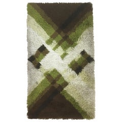 Vintage 1970s Modernist Multi-Color High Pile Rya Rug by Desso, Netherlands