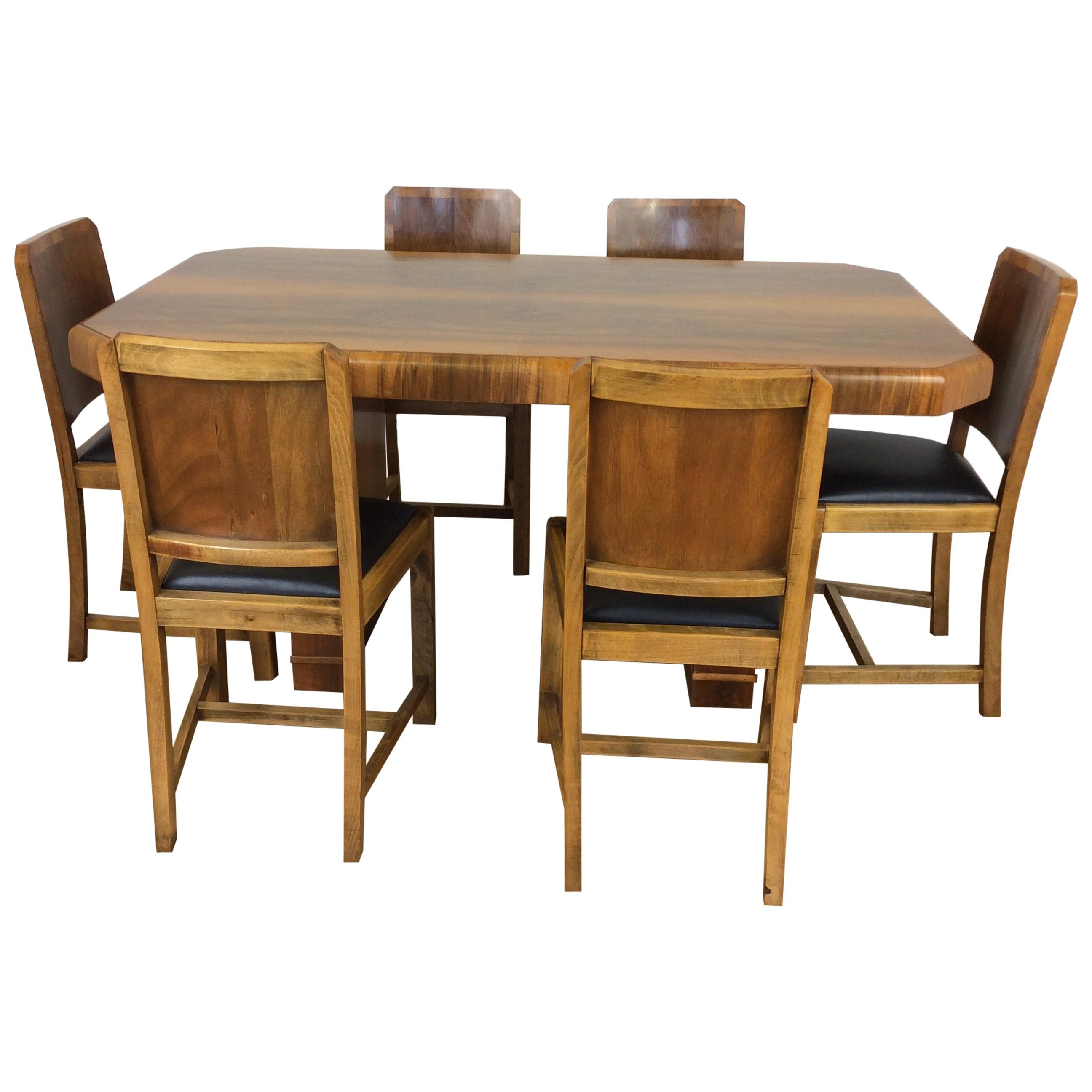 Art Deco Walnut Dining Table And Six Chairs For Sale