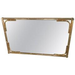 Mid-Century Modern Italian Faux Bamboo Brass Mirror, 1970s