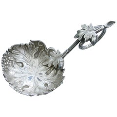 Victorian Silver Vine and Oak Leaf Caddy Spoon by George Unite, Birmingham, 1851