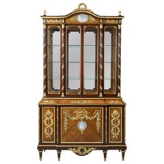 Louis XVI Style Mahogany Display Cabinet with Porcelain Plaques, circa 1880