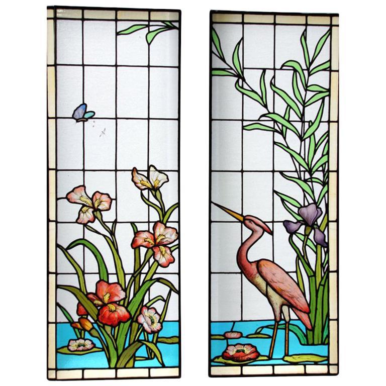 Ecole de Nancy Art Nouveau Stained Leaded Glass Window Panels Heron France 1900 For Sale