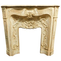 Antique Fireplace in White Lacquered Cast Iron, with Putti, End 800, Complete