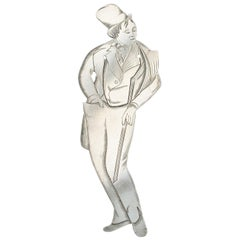 Edwardian Novelty Silver Figural Bookmark 'Dick Swiveller', circa 1901-1910