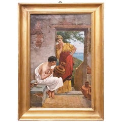 Late 19th Century Italian Oil on Canvas Painting Depicting an Greek Artisan