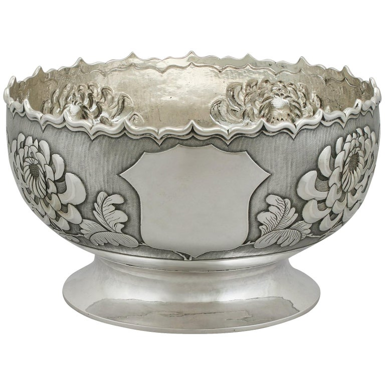 Antique Chinese Export Silver Bowl, circa 1900 For Sale