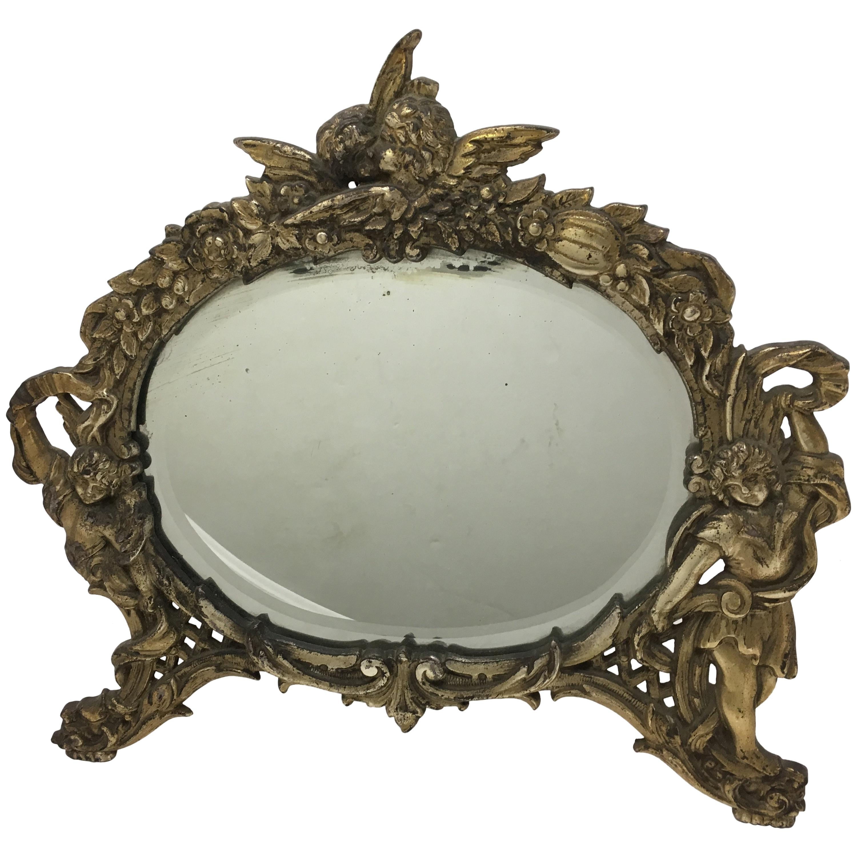 National Bronze and Iron Works Gilded Iron Mirror with Putti
