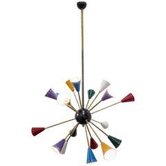 Stilnovo Moonlight Modernist Sputnik Chandelier 16 Arms and 16 Light