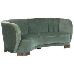Curved Green Banana Sofa in Style of Viggo Boesen / Fritz Hansen, Denmark, 1940s