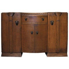 20th Century North American Arts and Crafts Oak Buffet with Bronze Mounting