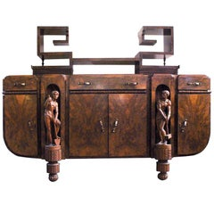 20th Century Italian Art Deco Buffet in Walnut Root with Wooden Sculptures