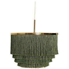 Hans-Agne Jakobsson Green and Brass Fringe Ceiling / Pendant Lamp, Sweden, 1960s
