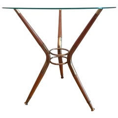 Cesare Lacca Attributed Midcentury Round Glass Italian Coffee Table, 1960s
