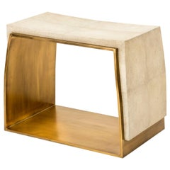 Laurens Stool in Cream Shagreen and Bronze-Patina Brass by R&Y Augousti