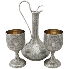 Indian Silver Claret Jug and Matching Goblets
