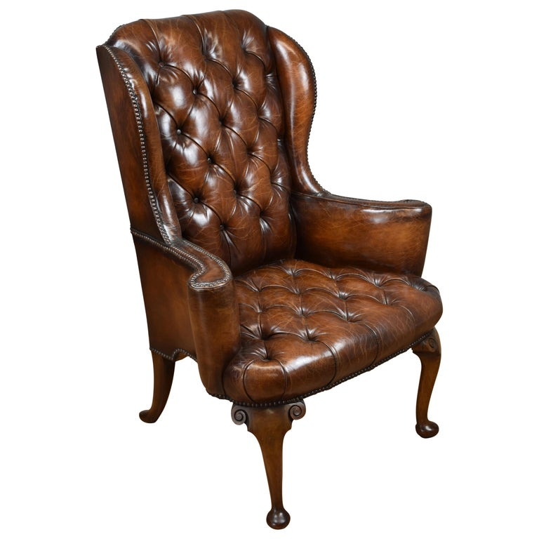 20th Century English Hand Dyed Distressed Brown Leather Wingback