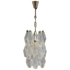 Round Small Venini Poliedro Lantern Murano Glass Transparent 1960s Midcentury