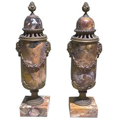 Pair of French Napoleon III Marble Lidded Vases with Ormolu Mountings